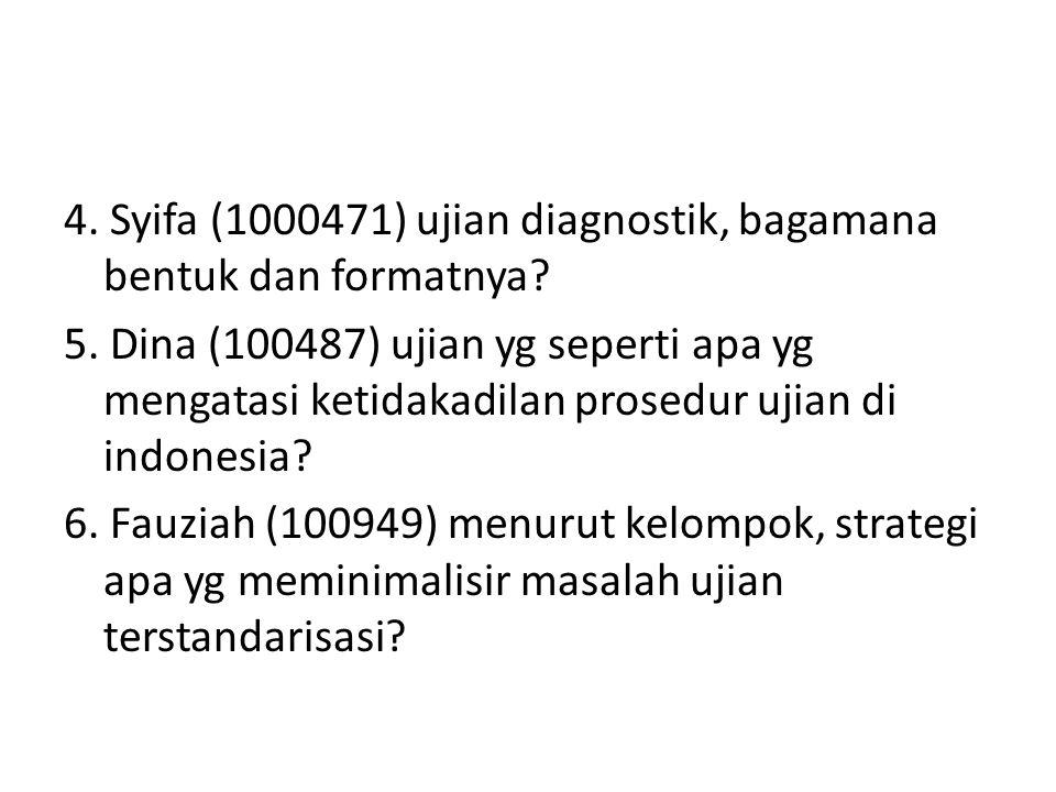 4. Syifa (1000471) ujian diagnostik, bagamana bentuk dan formatnya. 5