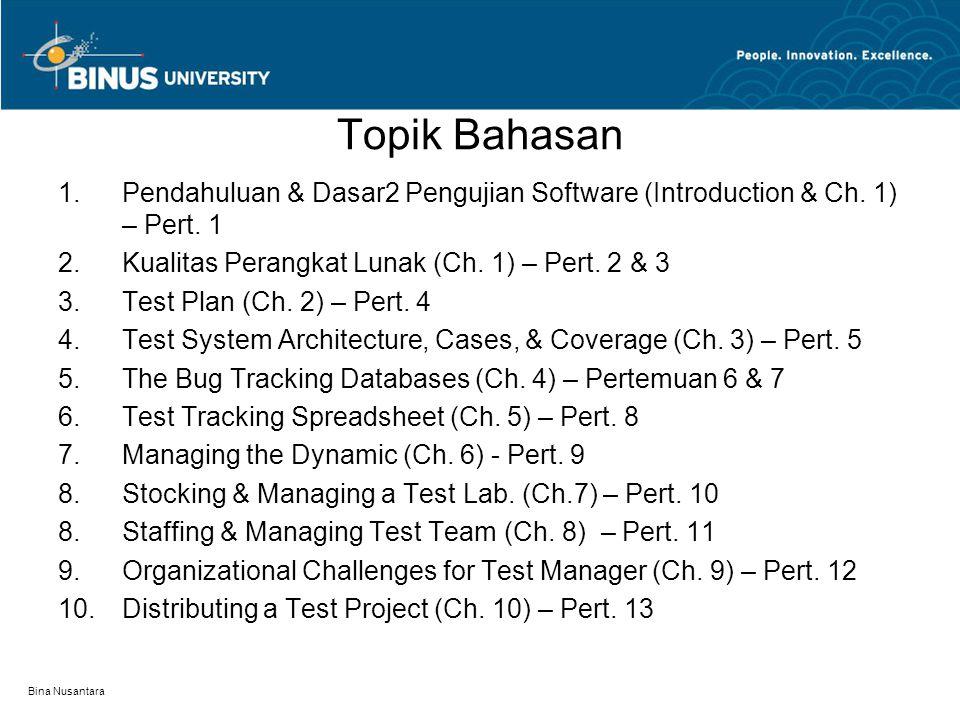 Topik Bahasan Pendahuluan & Dasar2 Pengujian Software (Introduction & Ch. 1) – Pert. 1. Kualitas Perangkat Lunak (Ch. 1) – Pert. 2 & 3.