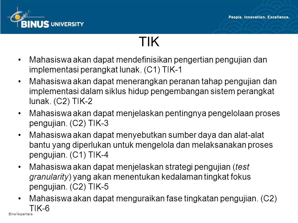 TIK Mahasiswa akan dapat mendefinisikan pengertian pengujian dan implementasi perangkat lunak. (C1) TIK-1.