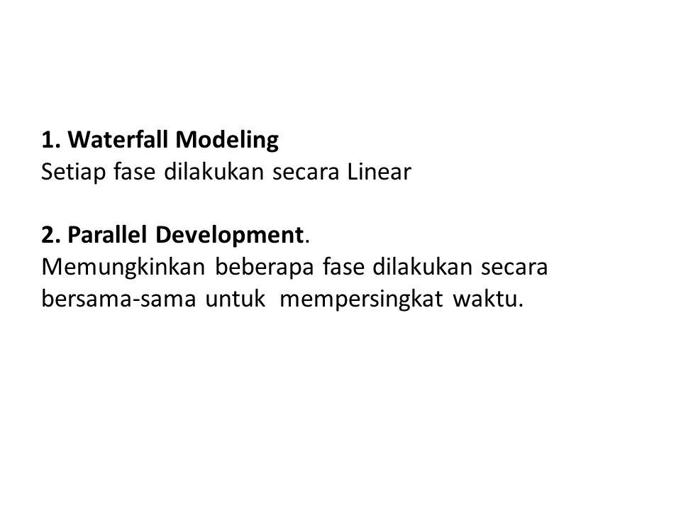 1. Waterfall Modeling Setiap fase dilakukan secara Linear. 2. Parallel Development. Memungkinkan beberapa fase dilakukan secara.