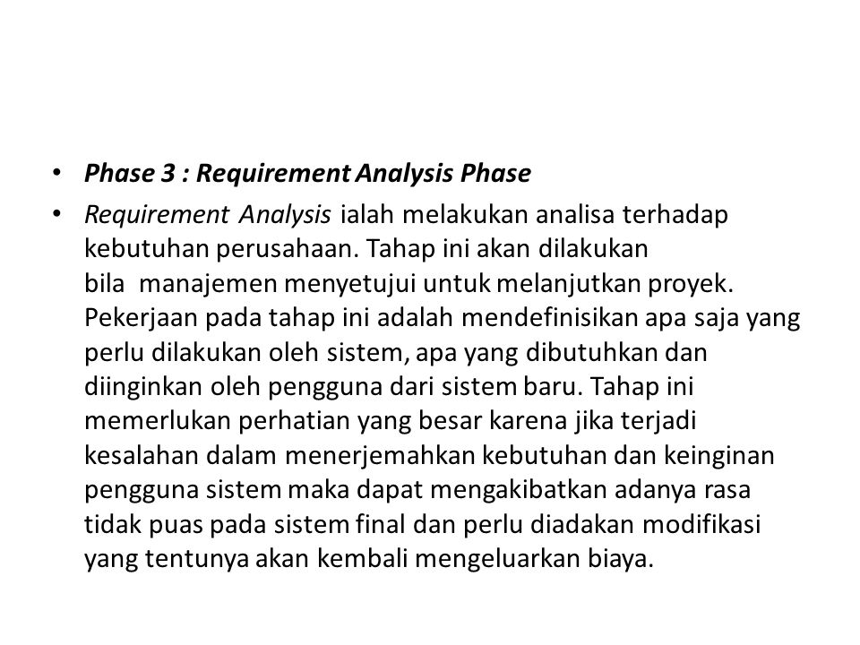 Phase 3 : Requirement Analysis Phase