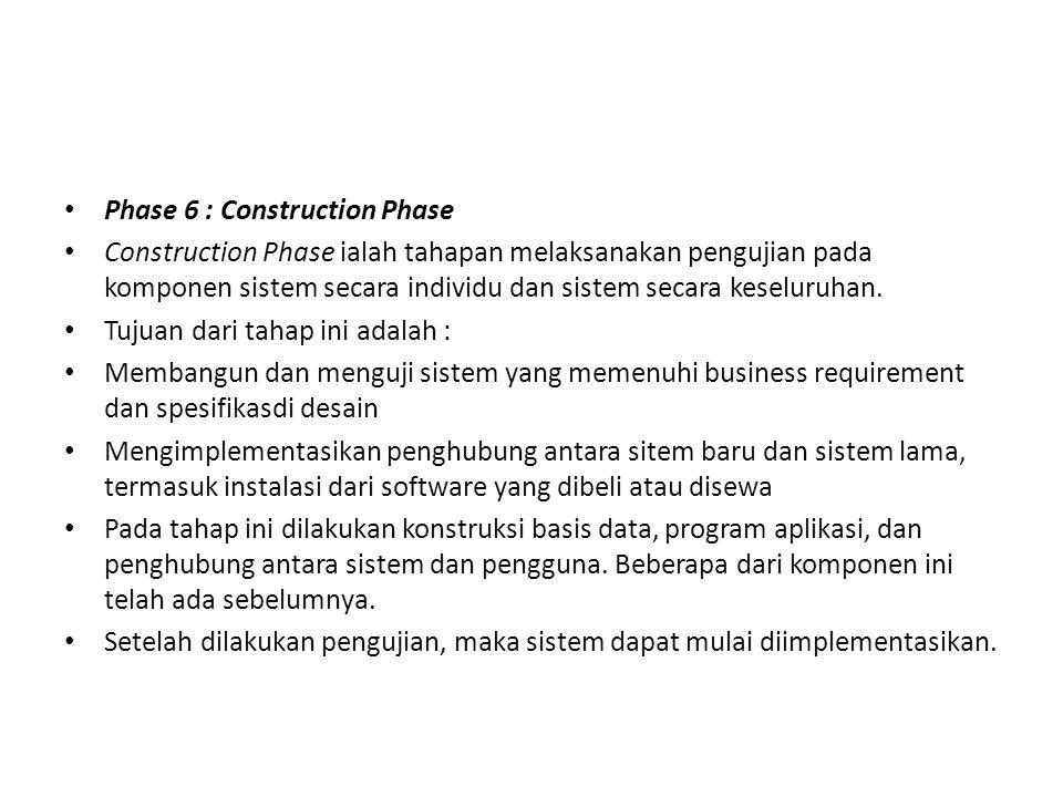 Phase 6 : Construction Phase