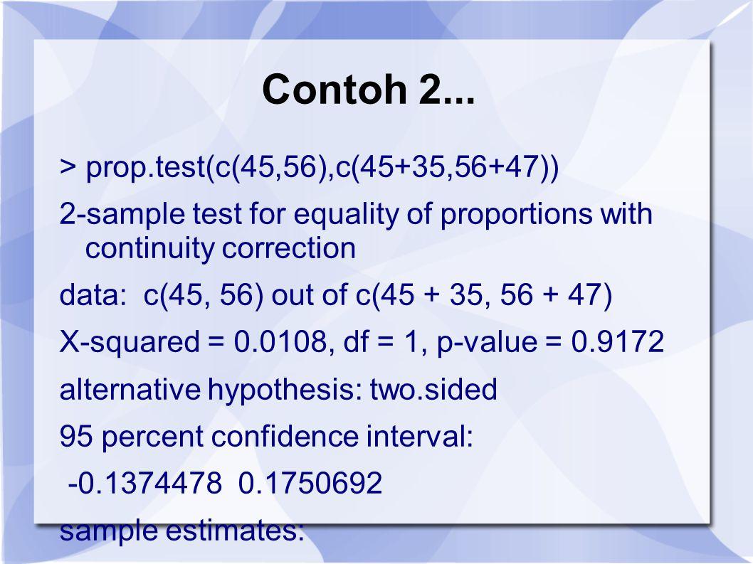 Contoh 2... > prop.test(c(45,56),c(45+35,56+47))