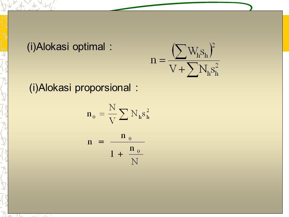 Alokasi optimal : Alokasi proporsional :