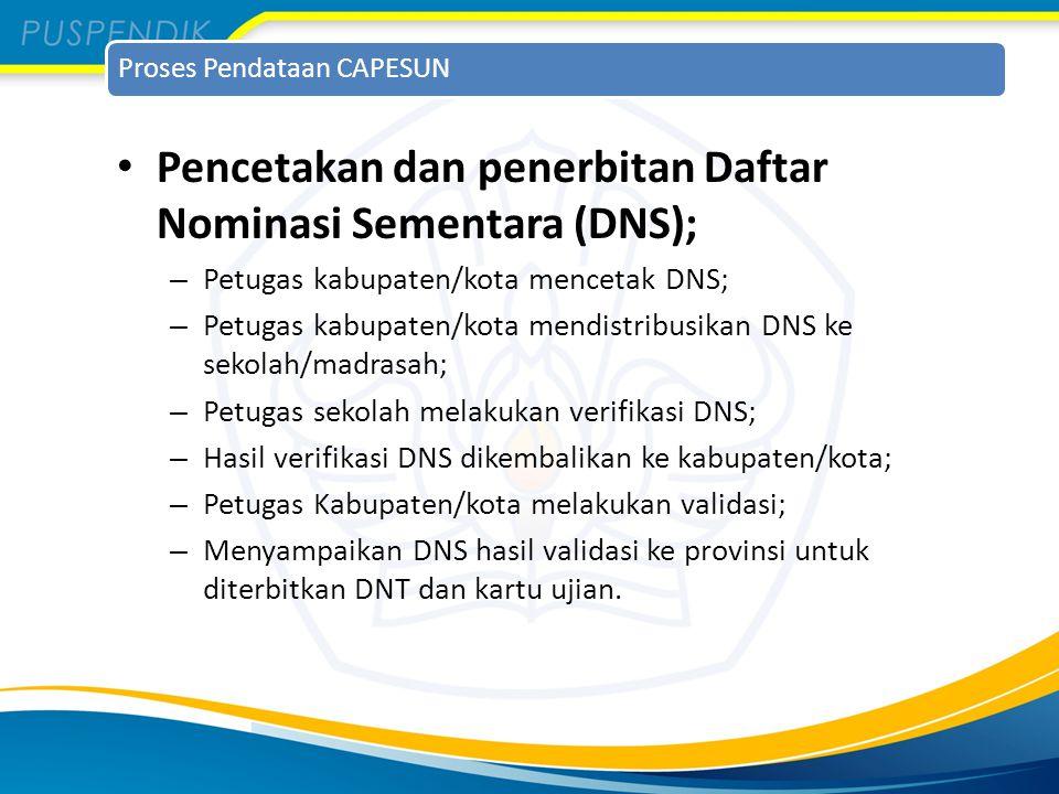 Pencetakan dan penerbitan Daftar Nominasi Sementara (DNS);