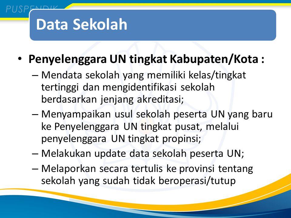 Data Sekolah Penyelenggara UN tingkat Kabupaten/Kota :