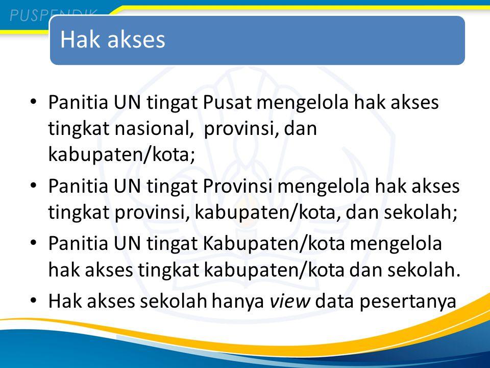 Hak akses Panitia UN tingat Pusat mengelola hak akses tingkat nasional, provinsi, dan kabupaten/kota;