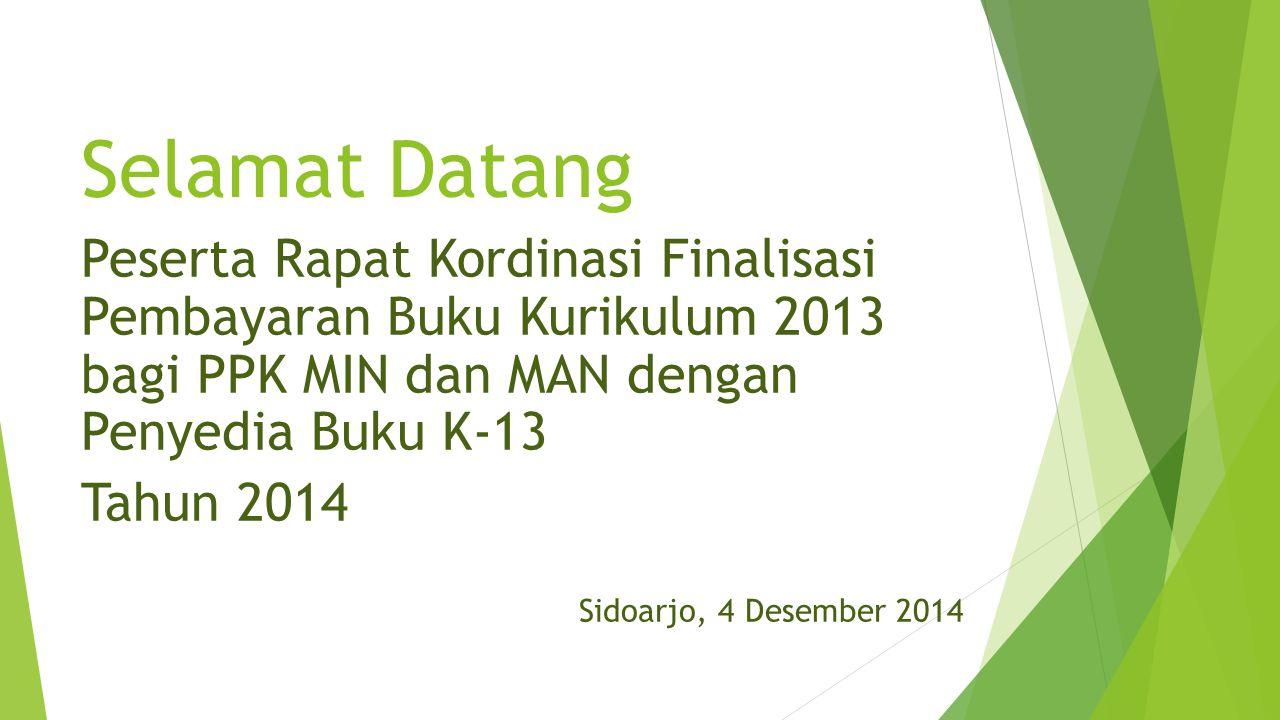 Selamat Datang Peserta Rapat Kordinasi Finalisasi Pembayaran Buku Kurikulum 2013 bagi PPK MIN dan MAN dengan Penyedia Buku K-13.