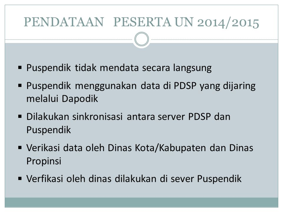 PENDATAAN PESERTA UN 2014/2015 Puspendik tidak mendata secara langsung