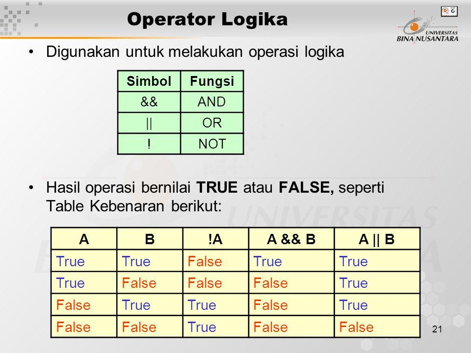 Operator Logika Digunakan untuk melakukan operasi logika