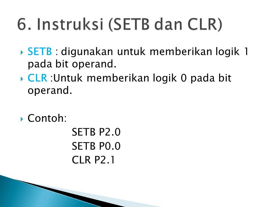 6. Instruksi (SETB dan CLR)