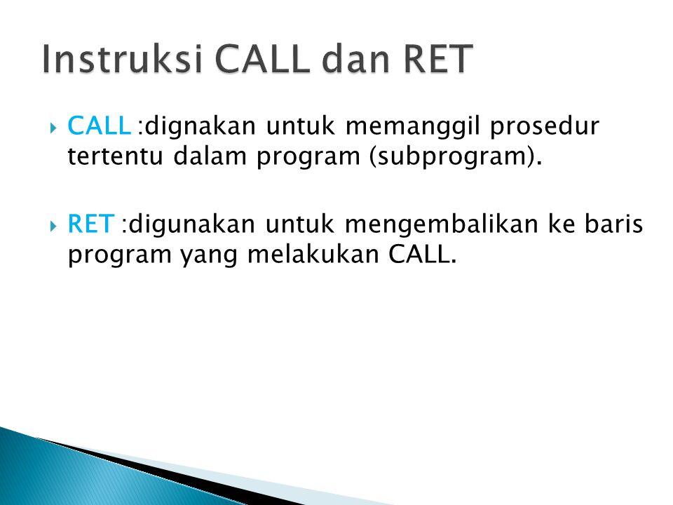 Instruksi CALL dan RET CALL :dignakan untuk memanggil prosedur tertentu dalam program (subprogram).