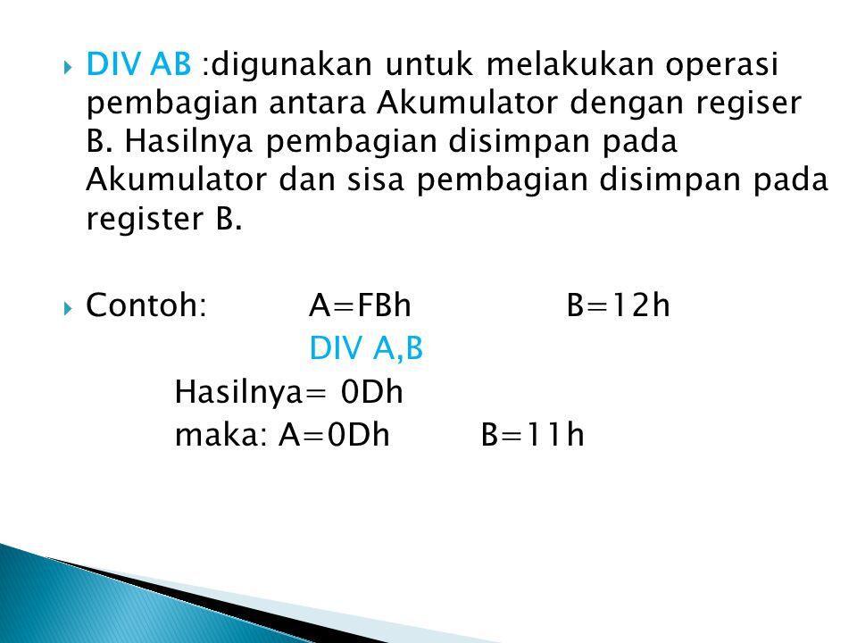 DIV AB :digunakan untuk melakukan operasi pembagian antara Akumulator dengan regiser B. Hasilnya pembagian disimpan pada Akumulator dan sisa pembagian disimpan pada register B.