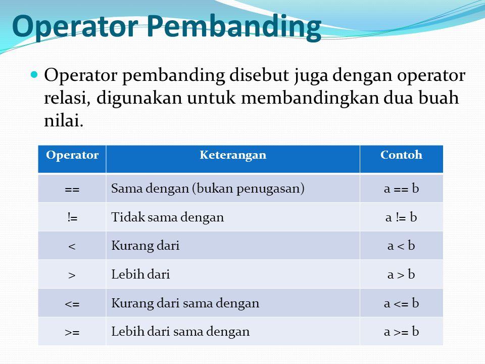Operator Pembanding Operator pembanding disebut juga dengan operator relasi, digunakan untuk membandingkan dua buah nilai.