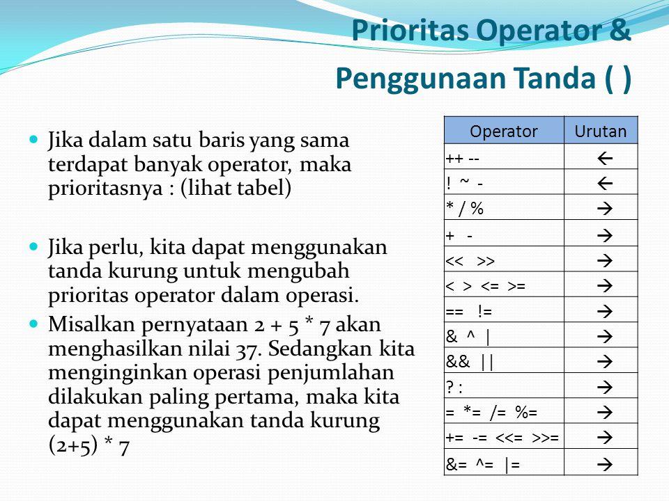 Prioritas Operator & Penggunaan Tanda ( )