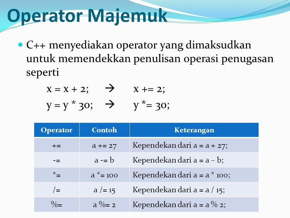 Operator Majemuk C++ menyediakan operator yang dimaksudkan untuk memendekkan penulisan operasi penugasan seperti.