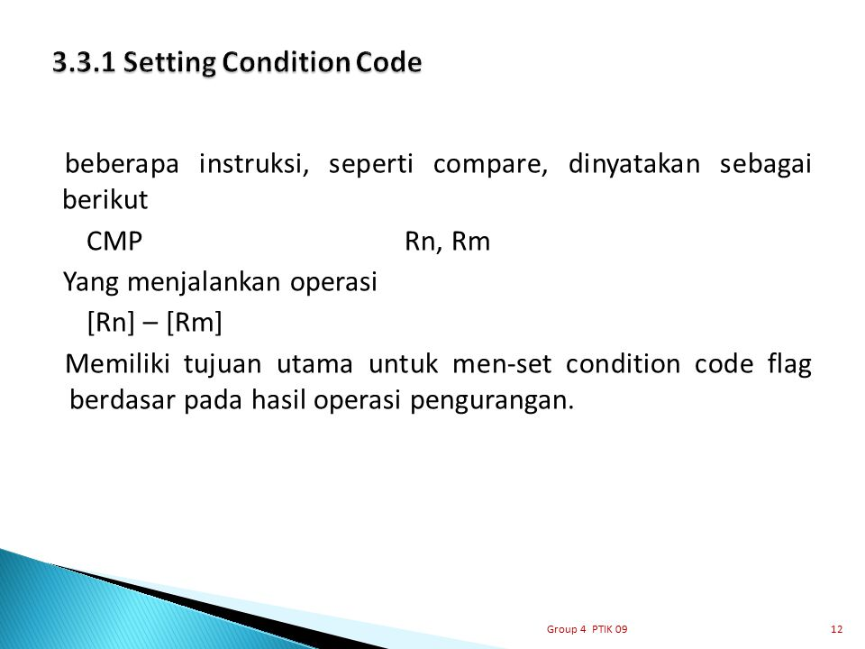 3.3.1 Setting Condition Code