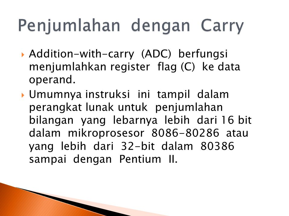 Penjumlahan dengan Carry