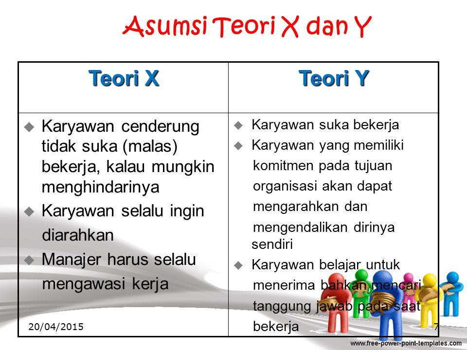 Asumsi Teori X dan Y Teori X Teori Y