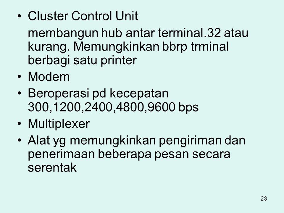 Cluster Control Unit membangun hub antar terminal.32 atau kurang. Memungkinkan bbrp trminal berbagi satu printer.