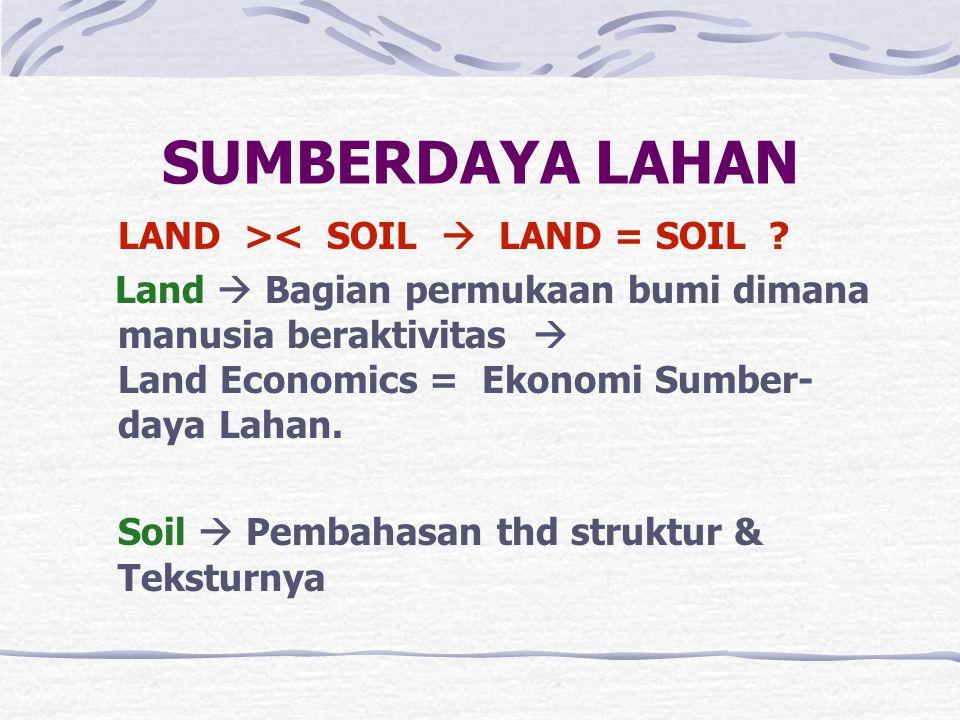 SUMBERDAYA LAHAN LAND >< SOIL  LAND = SOIL