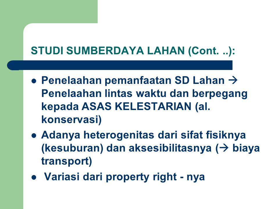 STUDI SUMBERDAYA LAHAN (Cont. ..):