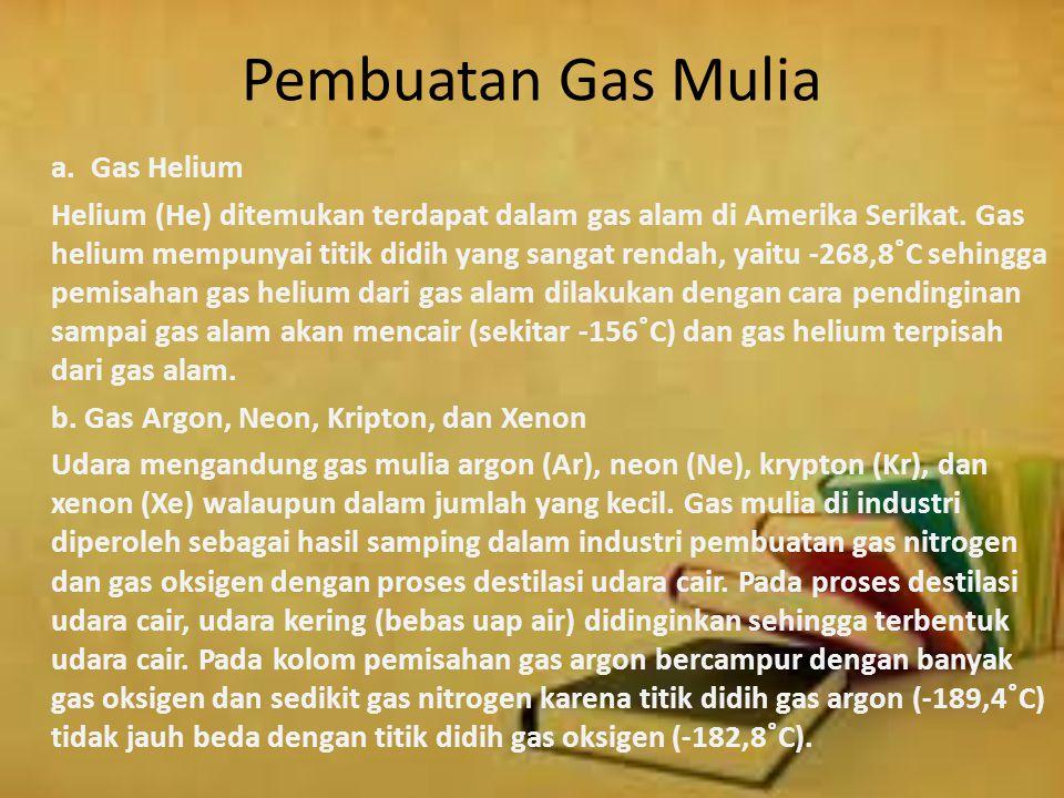 Pembuatan Gas Mulia a. Gas Helium.