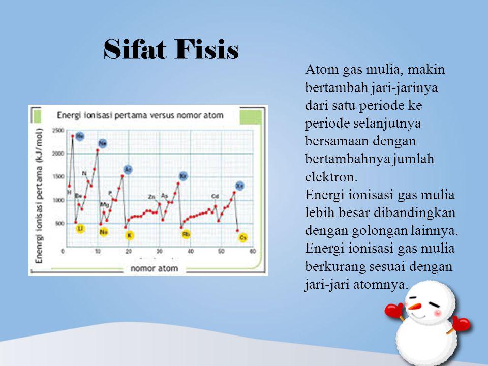 Sifat Fisis Atom gas mulia, makin bertambah jari-jarinya dari satu periode ke periode selanjutnya bersamaan dengan bertambahnya jumlah elektron.