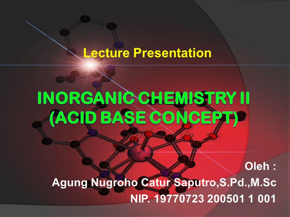 INORGANIC CHEMISTRY II (Acid base concept)