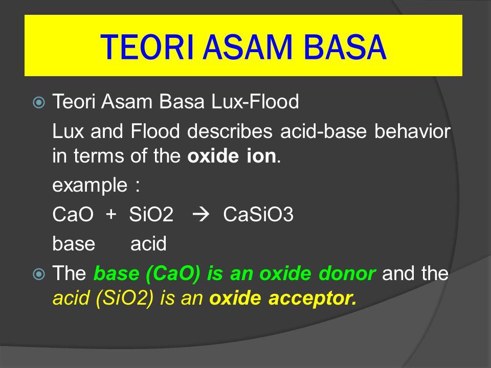 TEORI ASAM BASA Teori Asam Basa Lux-Flood