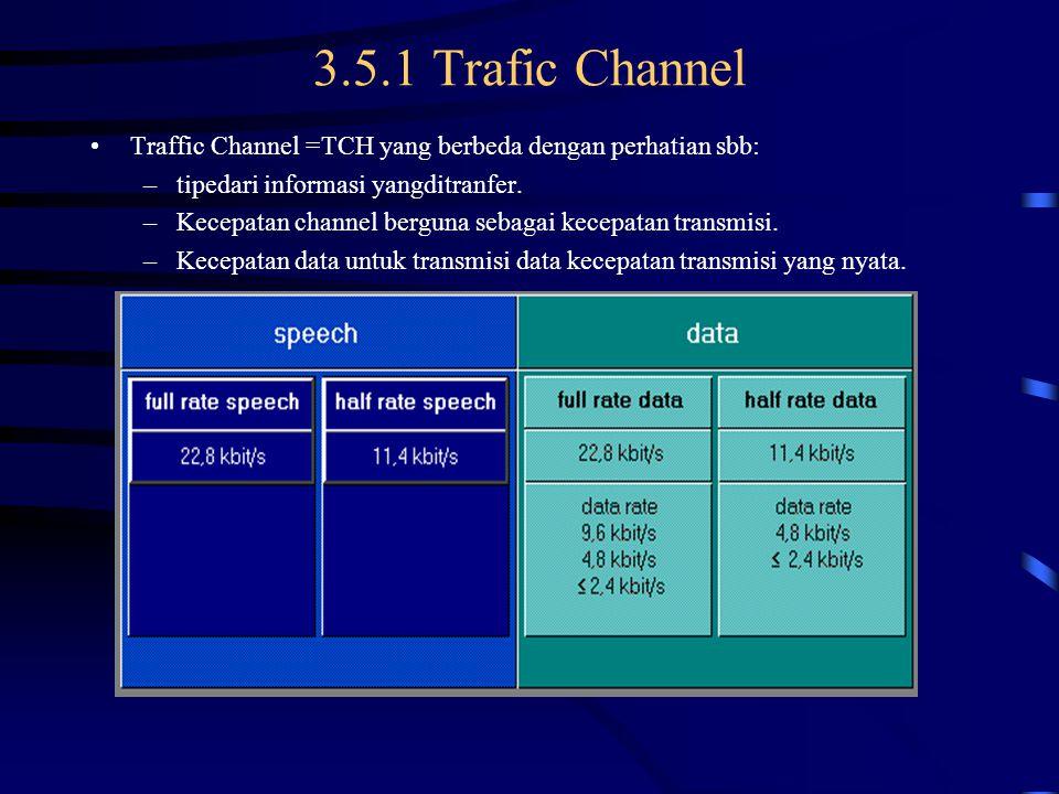 3.5.1 Trafic Channel Traffic Channel =TCH yang berbeda dengan perhatian sbb: tipedari informasi yangditranfer.