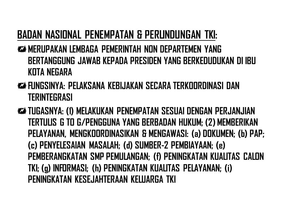 BADAN NASIONAL PENEMPATAN & PERLINDUNGAN TKI:
