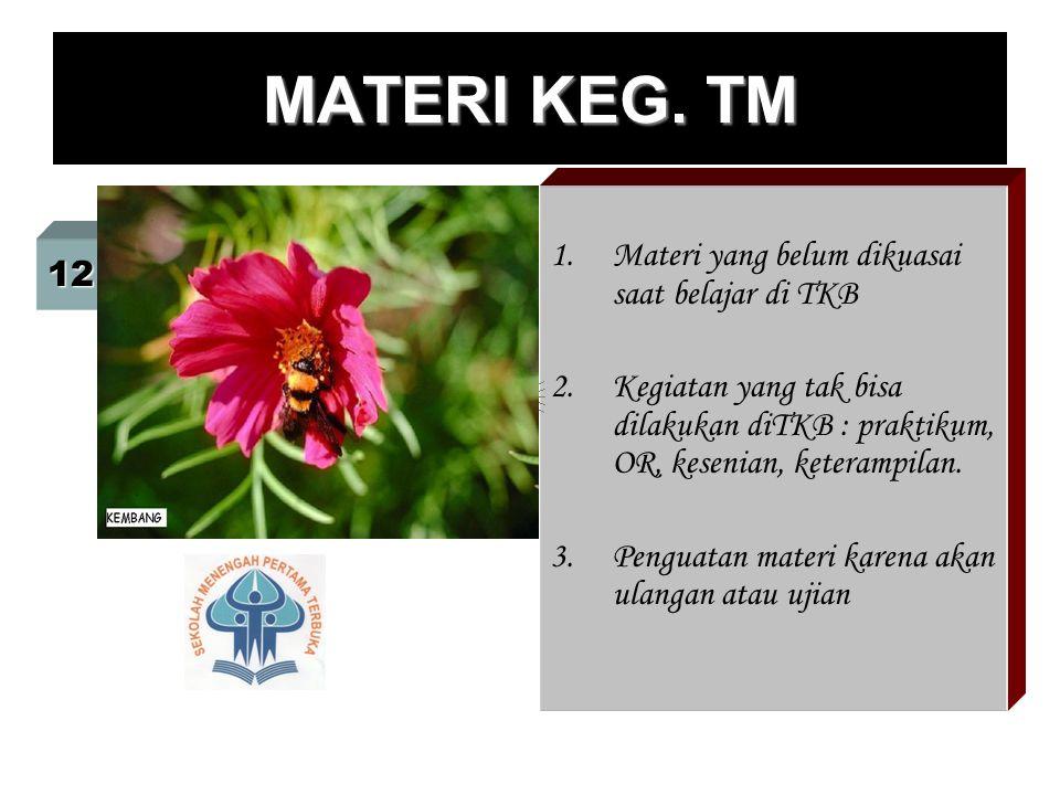 MATERI KEG. TM Materi yang belum dikuasai saat belajar di TKB 12