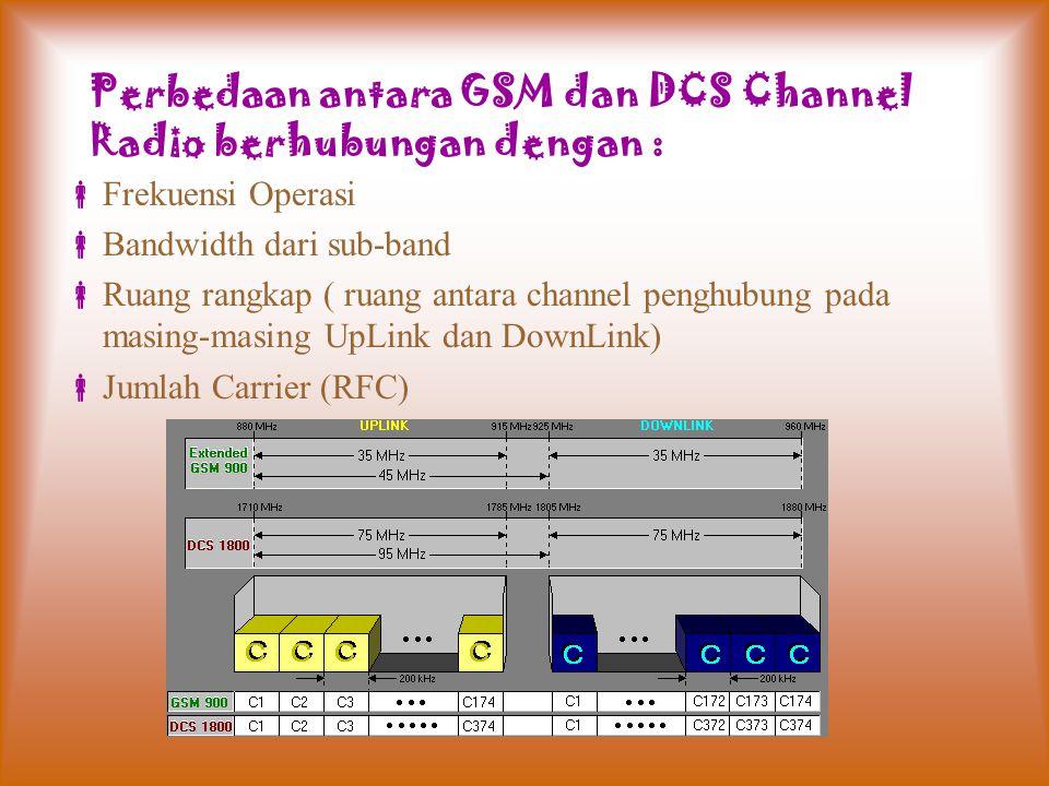 Perbedaan antara GSM dan DCS Channel Radio berhubungan dengan :