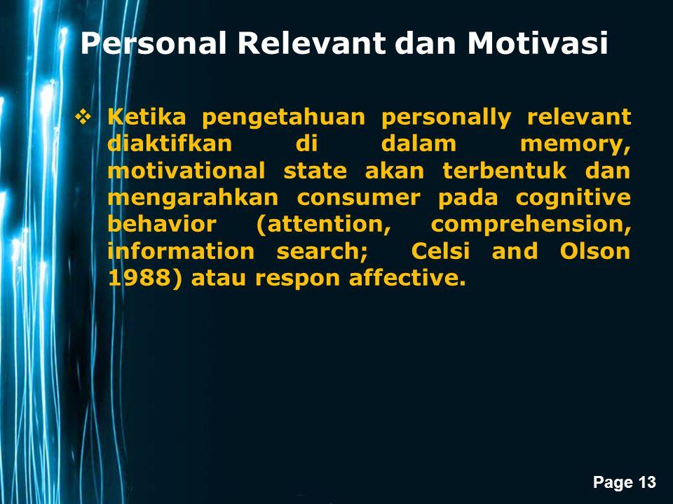 Personal Relevant dan Motivasi