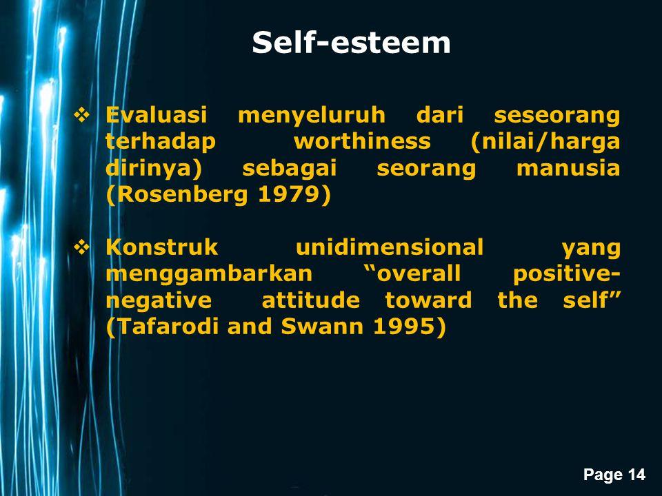 Self-esteem Evaluasi menyeluruh dari seseorang terhadap worthiness (nilai/harga dirinya) sebagai seorang manusia (Rosenberg 1979)