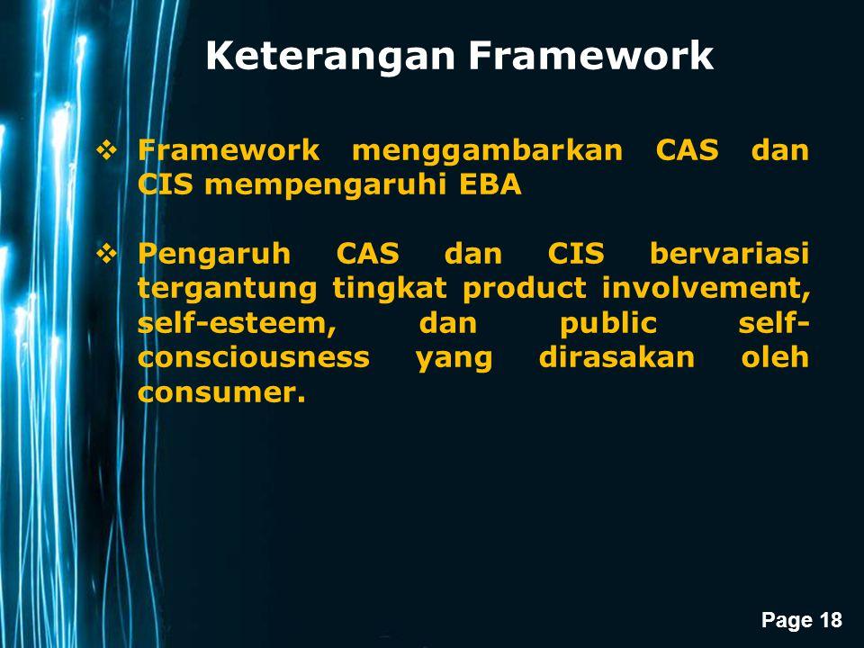 Keterangan Framework Framework menggambarkan CAS dan CIS mempengaruhi EBA.
