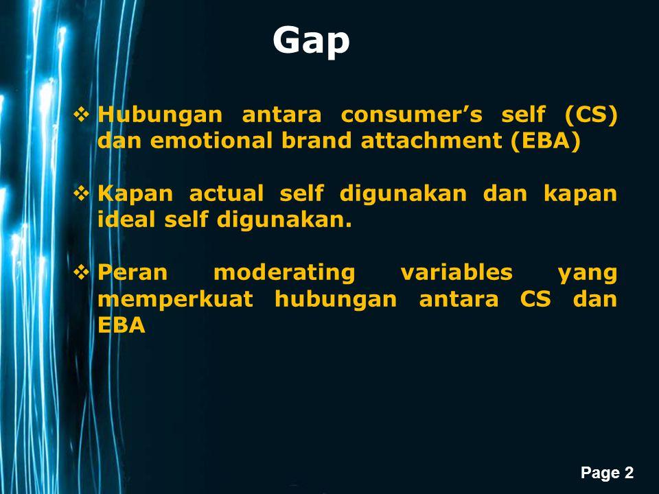 Gap Hubungan antara consumer's self (CS) dan emotional brand attachment (EBA) Kapan actual self digunakan dan kapan ideal self digunakan.