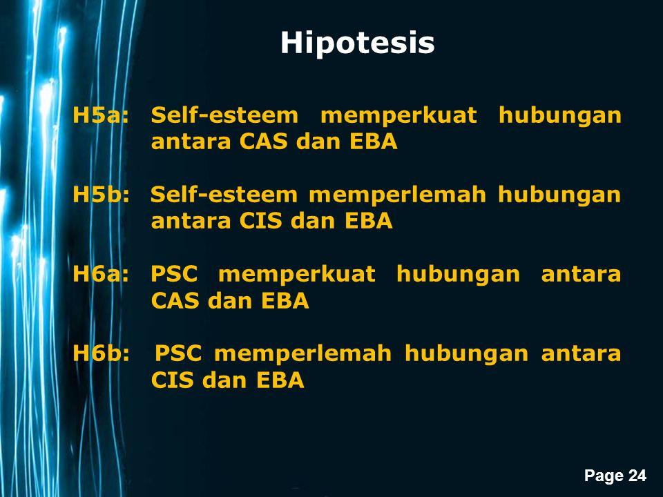 Hipotesis H5a: Self-esteem memperkuat hubungan antara CAS dan EBA