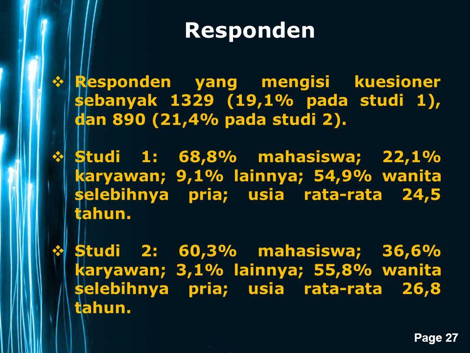 Responden Responden yang mengisi kuesioner sebanyak 1329 (19,1% pada studi 1), dan 890 (21,4% pada studi 2).