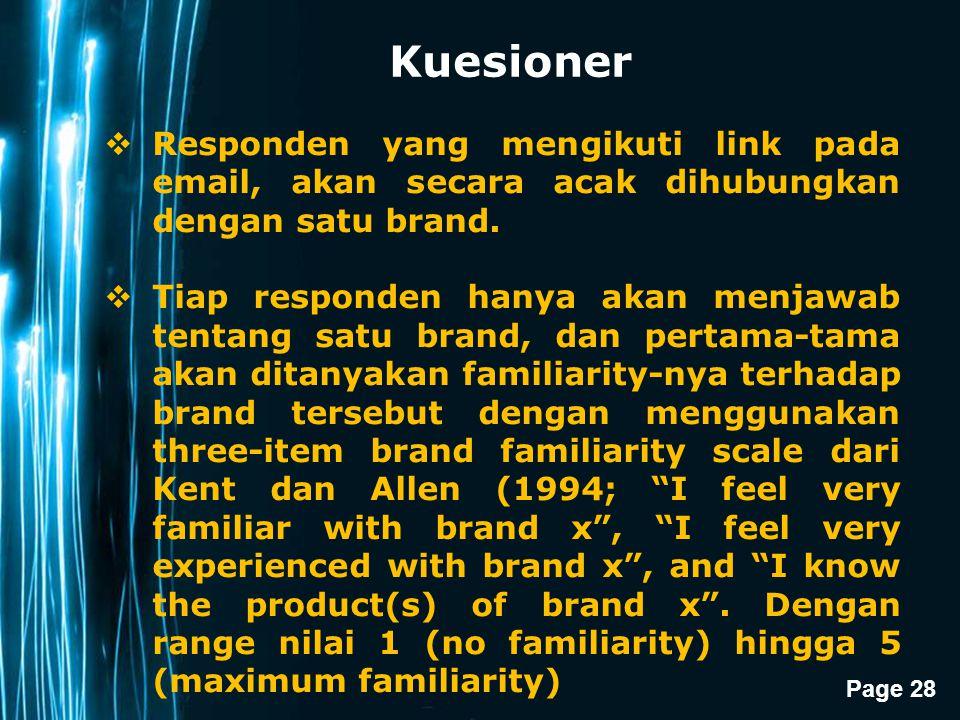 Kuesioner Responden yang mengikuti link pada email, akan secara acak dihubungkan dengan satu brand.