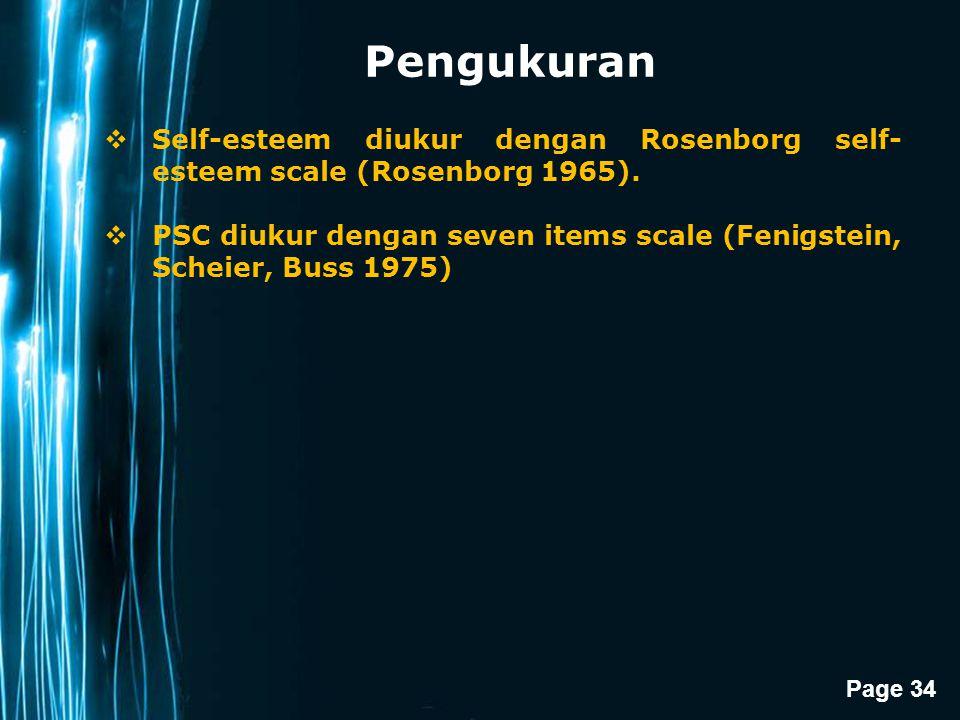 Pengukuran Self-esteem diukur dengan Rosenborg self-esteem scale (Rosenborg 1965).