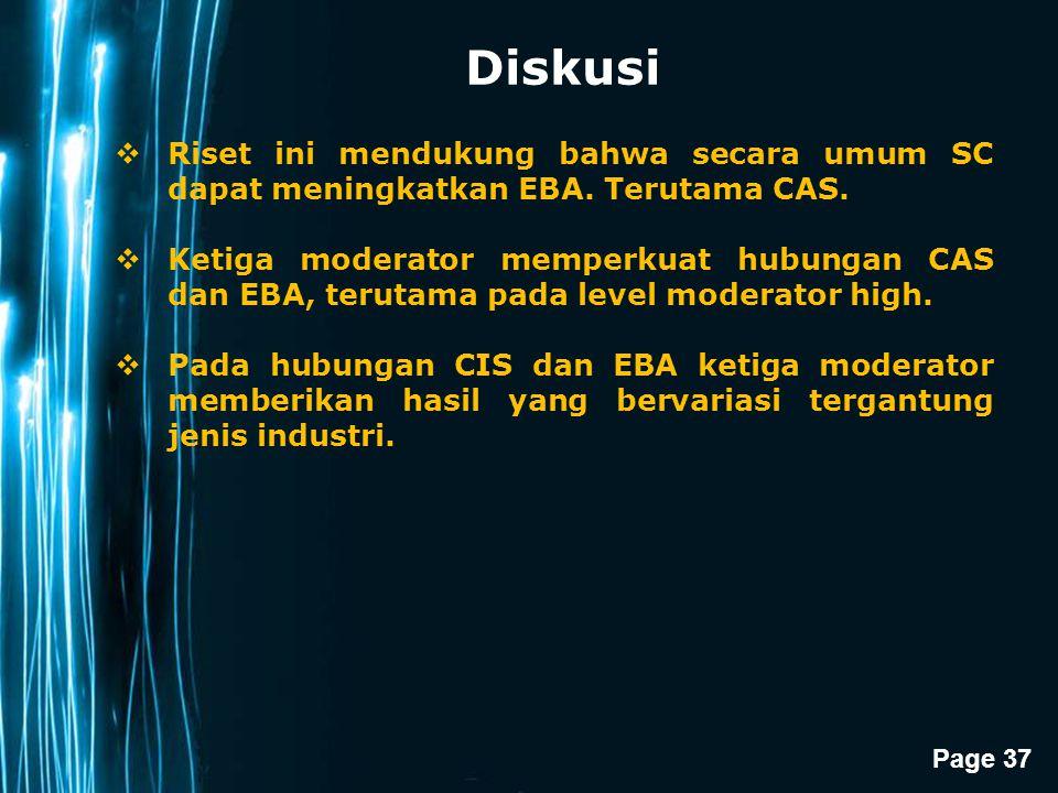 Diskusi Riset ini mendukung bahwa secara umum SC dapat meningkatkan EBA. Terutama CAS.