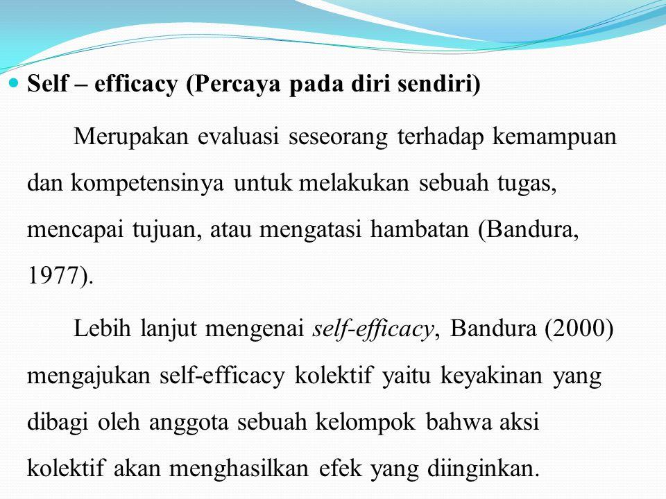Self – efficacy (Percaya pada diri sendiri)