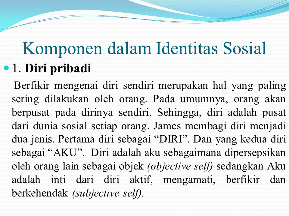 Komponen dalam Identitas Sosial