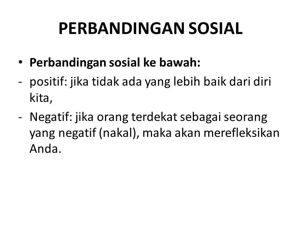 PERBANDINGAN SOSIAL Perbandingan sosial ke bawah: