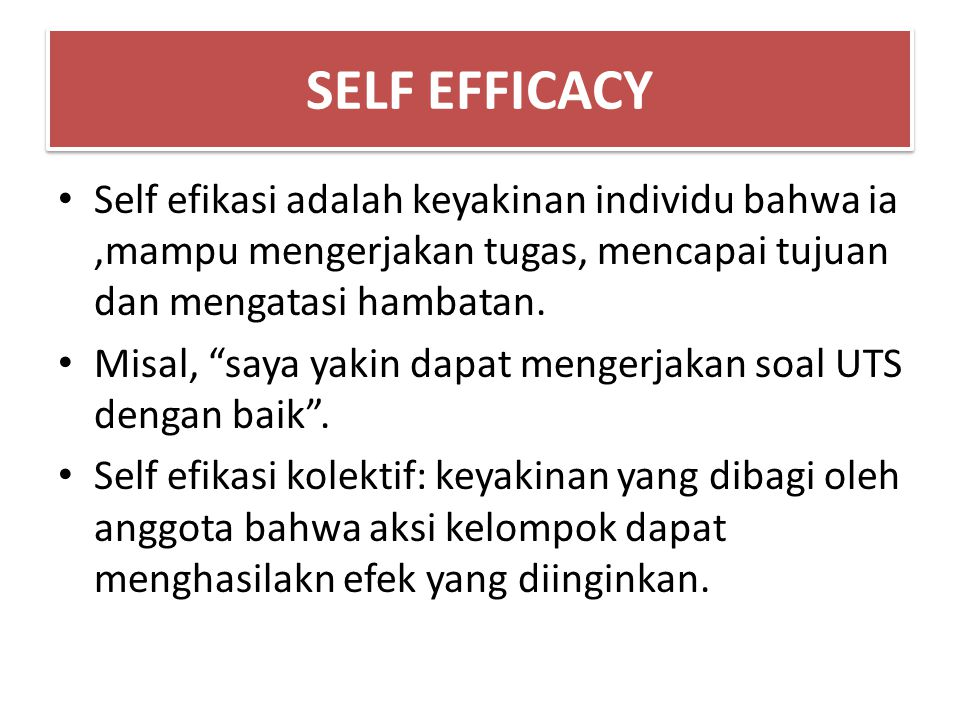 SELF EFFICACY Self efikasi adalah keyakinan individu bahwa ia ,mampu mengerjakan tugas, mencapai tujuan dan mengatasi hambatan.