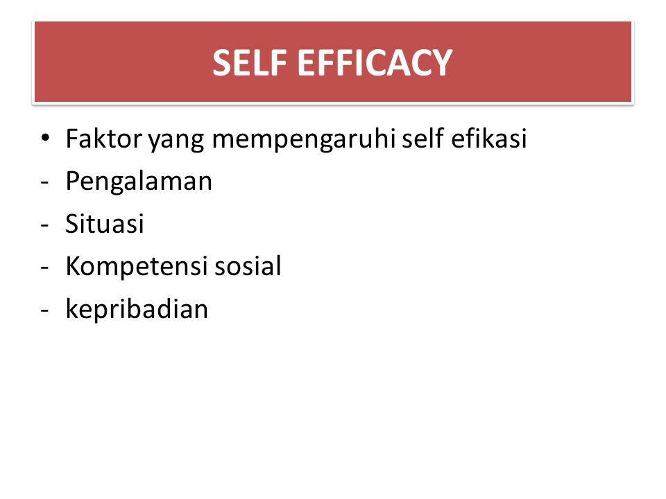 SELF EFFICACY Faktor yang mempengaruhi self efikasi Pengalaman Situasi
