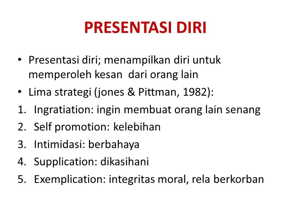 PRESENTASI DIRI Presentasi diri; menampilkan diri untuk memperoleh kesan dari orang lain. Lima strategi (jones & Pittman, 1982):