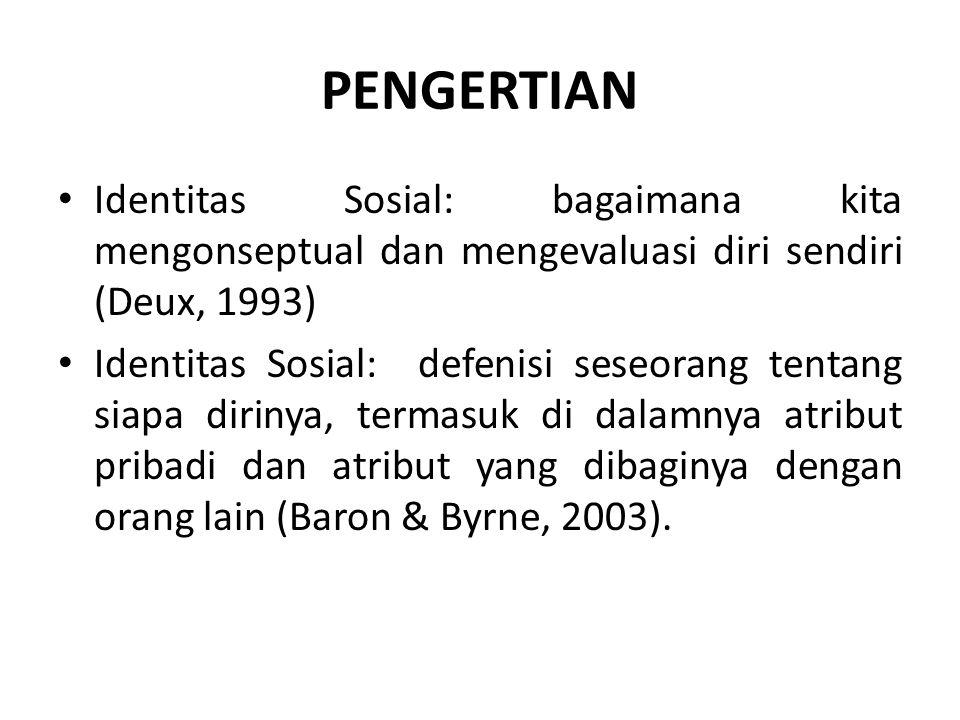 PENGERTIAN Identitas Sosial: bagaimana kita mengonseptual dan mengevaluasi diri sendiri (Deux, 1993)